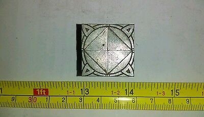 Vintage Letterpress Printing Block Circle Triangle Design Lot Solid Metal Rare