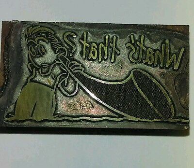 Vintage Letterpress Printing Block Say What? Man with Antique Hearing Aid Horn