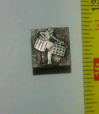 Vintage Letterpress Printing Block Woman Carrying Packages Shopping? Solid Metal