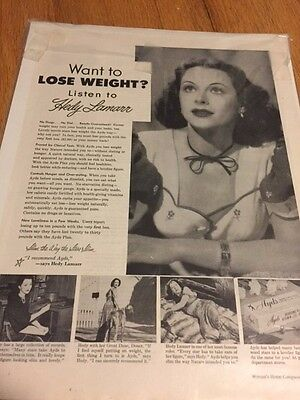 1940s Hedy Lamarr AYDS Diet Weight Loss Product Vintage Print Ad