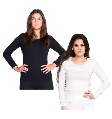 2 Pack Ladies Cotton Thermal Underwear Spencer Long Sleeve White & Black