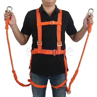 Rock Tree Climbing Full Body Harness Two Safety Rope Protect Belt Falling LE