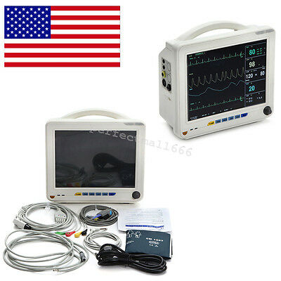 US LCD Patient Monitor 6 parameter Vital Sign ECG NIBP RESP TEMP SPO2 PR +Cable