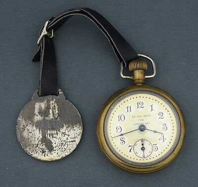 Early Advertising Do you Wear the Gordon Hat Pocket Watch & Fob