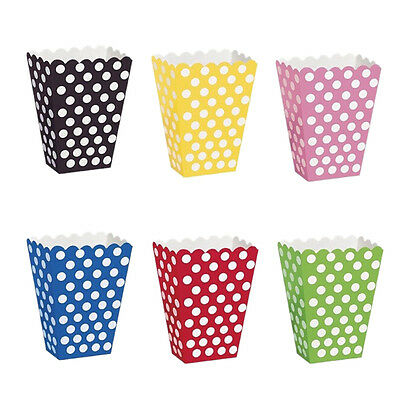 6Popcorn TREAT BOXES Polka Dots Spots - Birthday Party Favour Loot Paper BagsV5Z