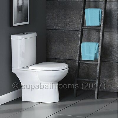 Short Projection Compact WC Close Coupled Toilet Pan, Cistern & Soft Close Seat