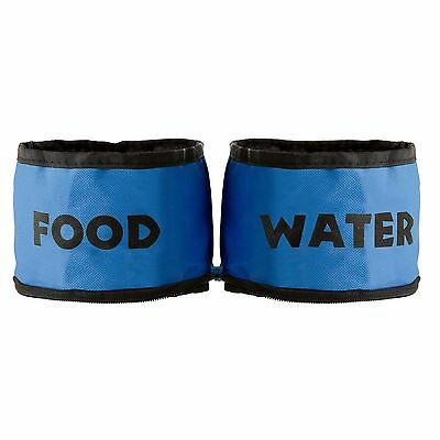 PetMaker Collapsible Travel Pet Food and Water Bowls for Dogs or Cats Blue