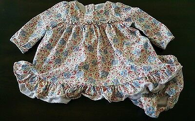 Ralph Lauren 3 months baby girl pink blue flowered dress bloomers set ruffle EUC