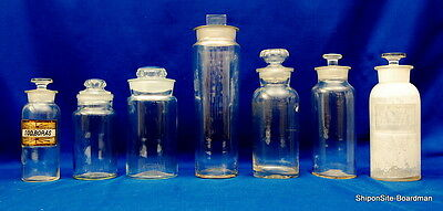 (7) Antique Apothecary Ground Glass Jars & Stopper 1920's - 1930's