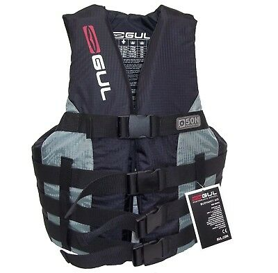 Gul Medium Impact Vest Jacket Buoyancy Aid 4 Buckle Jetski Waterski Black / Grey