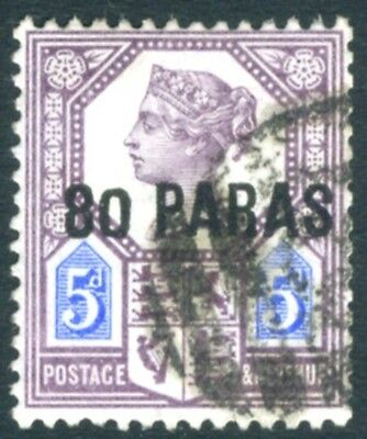 "BITISH LEVANT-1887-96 80pa on 5d Purple & Blue with small ""0"" in ""80"" Sg 5a G/U"