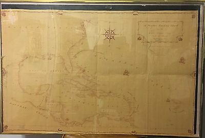 VTG Lg 3'x2' Weather Tracking Chart Map Nautical Atlantic Gulf Mexico Caribbean