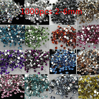 1000pcs Resin Crystal Round color Rhinestones Flatback beads 2/3/4/5/6mm