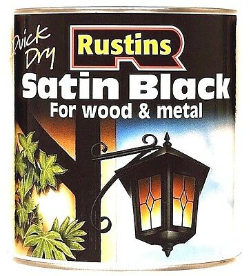 Rustins Satin Black Paint - 500ml For Wood & Metal Quick Drying Low VOC