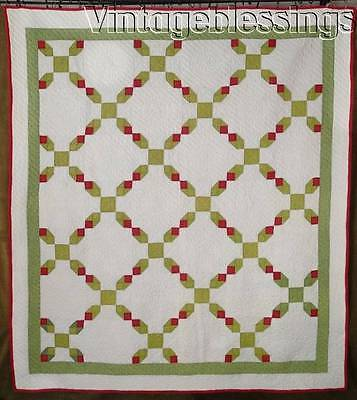 """EARLY Well Quilted Antique Green & Red QUILT 82"""" x 74"""""""
