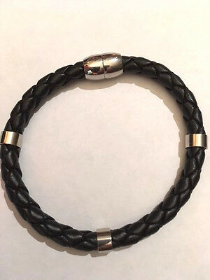 Men's Black Braided Leather Bracelet With Magnetic Closure. 8.5 Inches Long