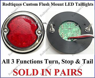 Flat Mount Red LED Taillights Roll Pan Bumper Custom Ford Pickup Truck SS56