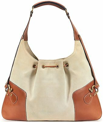 BURBERRY Authentic Brown Canvas Leather Trim Hobo Shoulder Bag