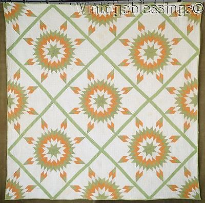 """EARLY ONE Antique 19th Century Green & Cheddar Stars QUILT 72x72"""" 10-13 spi"""