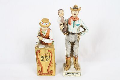 2 Vintage Lionstone Decanter Lot Collectable Circus Cowboy Western 1974 Whiskey