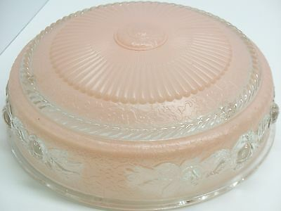 Vintage 3-Hole Pink Frosted Glass Roses Ceiling Light Shade 10""