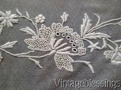 """Antique Hand Embroidered Bridal Lace French Net Piece 52x43"""""""