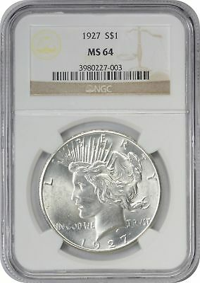 1927 Peace Dollar MS64 NGC Mint State 64