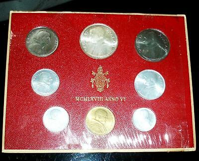 1968 Vatican Mint Set with SILVER in Original Presentation Case. Very nice set.