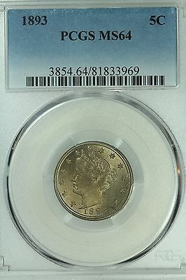 1893 Liberty Nickel! Pcgs Ms64! 5C! Us Coin Lot #3150