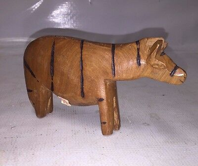 Wooden Zebra Figurine - Hand Carved - Made in Kenya