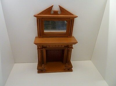 Dolls House Miniature 1:12th Scale Lounge Furniture Walnut Wooden Fireplace