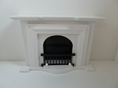 Dolls House Miniature 1:12th Scale Lounge Furniture White Wooden Fireplace T5001