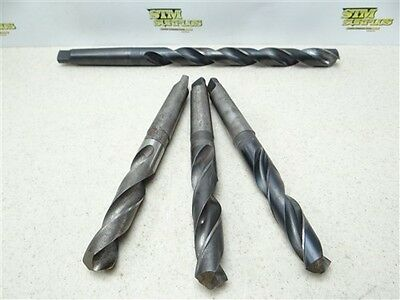 "Lot Of 4 Hss 3Mt Taper Shank Twist Drills 57/64"" To 61/64"" N.t. Morse"