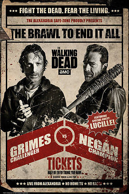 WALKING DEAD - RICK VS NEGAN - FIGHT POSTER 24x36 - TV SHOW GRIMES 52429