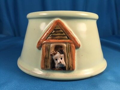 Vintage Bourne's Pottery (England) Dog Bowl With Fox Terrier, Unusual!