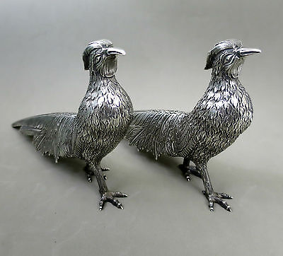 SUPERB REALISTIC PAIR SOLID SILVER PHEASANTS FIGURINES SCULPTURE 715gr