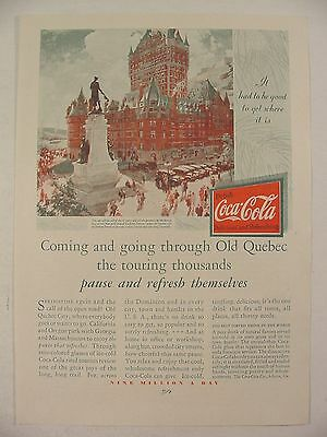 1930 COCA COLA Ad Artwork of CHATEAU FRONTENAC Dufferin Terrace OLD QUEBEC