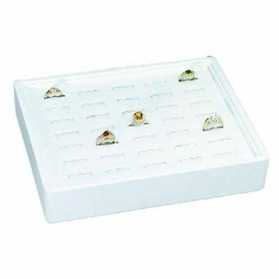 New MM RT-935-WH Stackable 35 Slot Ring Tray in White Jewelry Retail