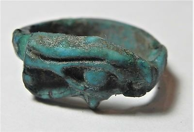 Zurqieh -Af1929-  Ancient Egypt. Time Of King Tut Faience Ring.  Eye Of Horus