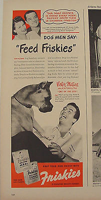 1948 VICTOR MATURE with his BOXER Dog Friskies Dog Food Print Ad