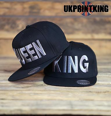 King And Queen Snapback Pair Fashion Embroidered Rapper Caps Hip-Hop Hats Silver