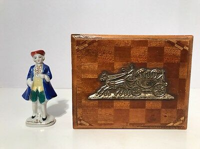 Vintage 1950's Trinket Box Wood Marquetry & Figurine Made In Occupied Japan