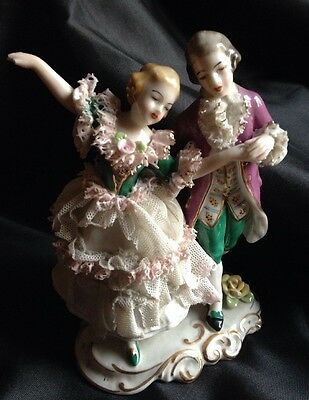 DRESDEN Frankenthal Lace Couple Lady Man Hand Painted Germany Figurine Repair