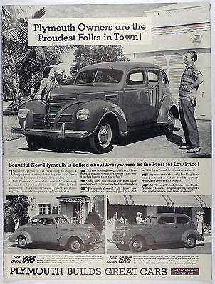 Vintage 1939 PLYMOUTH Automobile Full-Page Large Magazine Print Ad