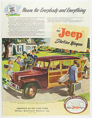 Vintage 1946 JEEP Station Wagon Automobile Full Page Large Magazine Print Ad