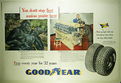 Vintage 1947 GOODYEAR TIRES Automobile Lg 2-Page Magazine Print Ad