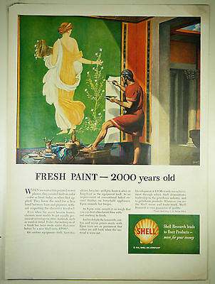 Vintage 1951 SHELL OIL / GASOLINE - Large Magazine Full-Page Print Ad