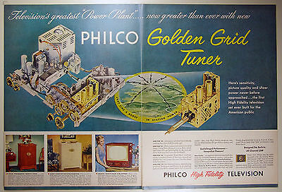 Vintage 1952 PHILCO TELEVISION Two-Page Large Magazine Print Ad