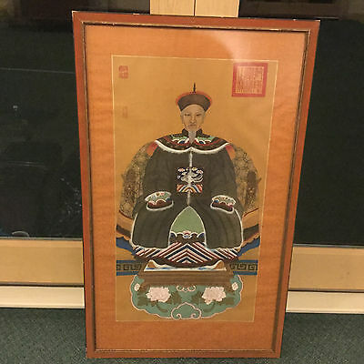 "46"" Antique Signed Japanese beautiful framed  Woodblock Print WATERCOLOR ON Silk"