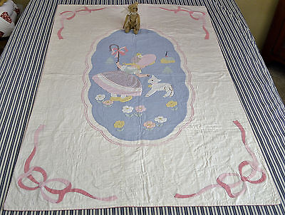 Beautiful Antique / Vintage Hand Stitched Mary's little Lamb Nursery Crib Quilt
